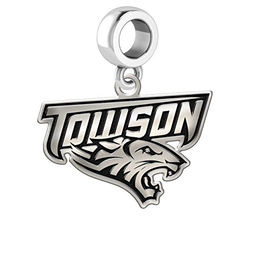 Towson University Tigers Silver Logo Dangle Charm Fits All European Style Charm - Fit Towson
