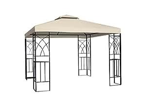 Greenbay 3x 3m Metal Gazebo Pavilion parasol de pantalla refugio carpa jardín reunión fiesta tienda de campaña, arena