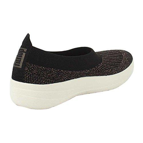 Bronze Slip On (FitFlop Womens Uberknit Slip On Black/Bronze Metallic Sneaker - 6.5)