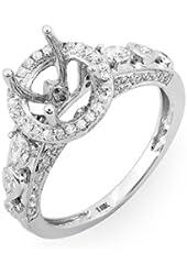 1.00 Carat (Ctw) 18k White Gold Round & Pear Diamond Semi Mount Engagement Bridal Ring (No Center Stone)
