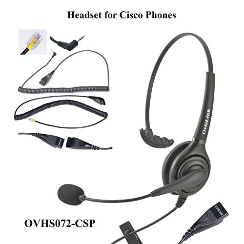 OvisLink Professional Cisco Headset with HD Sound Noise Cancellation and Quick Disconnect Cords – Monaural Call Center Headset for Cisco Phone Models 8821, 7925g, 7975, 7945, 504g, 525g and Many More -
