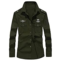 Men's Military Cargo Casual Long Sleeve Shirt