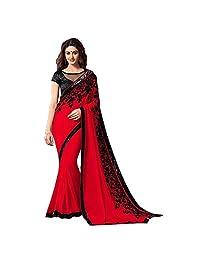 Ethnic Women's Net Designer Saree Partywear Free Size Sari for Women Blouse Readymade