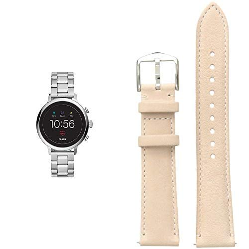 (Fossil Women's Smartwatch Gen 4 Touchscreen Watch with Stainless-Steel Strap, Silver, 18 (Model: FTW6017 with S181360 STRAP BAR - LADIES Analog Display Beige Watch)
