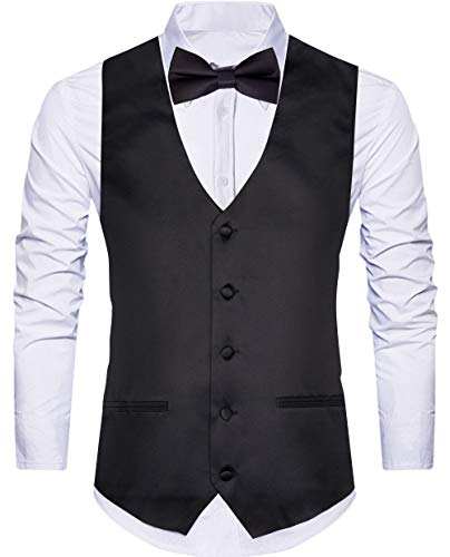WANNEW 4pc Mens Tuxedo Vest Suit Vest Paisley Vest Set, with Bow Tie, Neck Tie & Pocket Hanky (XX-Large, Black)