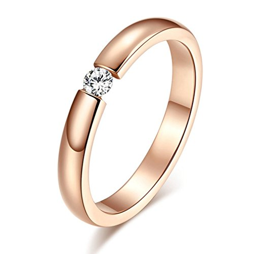 PNBB Womens Titanium Steel Single Zircon Engagement Ring Rose Gold Size 6