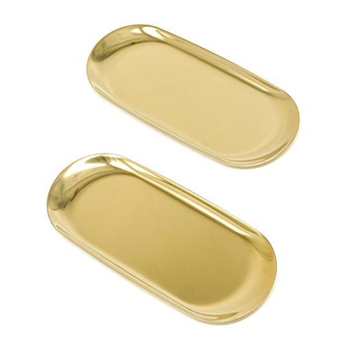 Velener Nordic Style Golden Oval Towel Tray for Home Decor (set of 2) by Velener