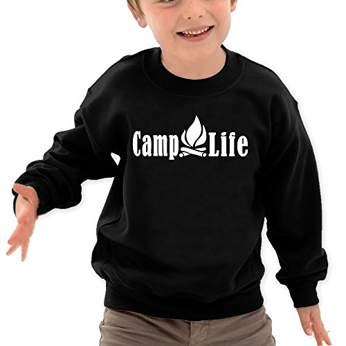 Puppylol Camping Life Kids Classic Crew-Neck Pullover Sweatshirt Black 4 Toddler