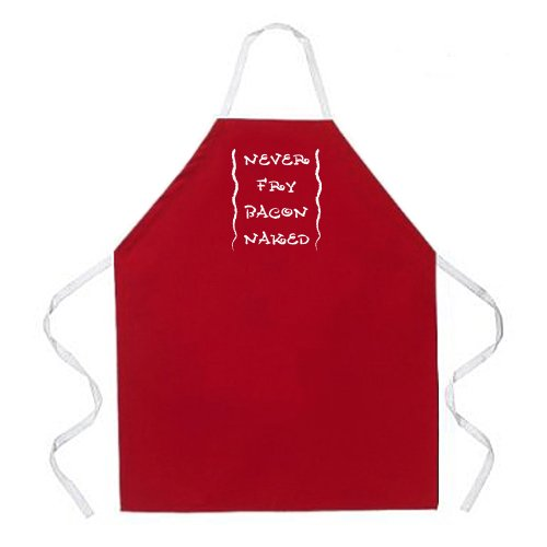 Attitude Apron Never Fry Bacon Apron, Red, One Size Fits Most