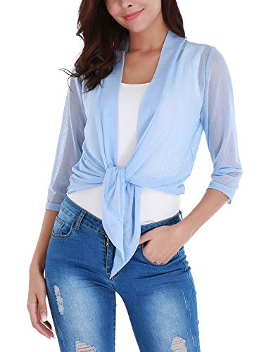 Dromild Womens 3/4 Sleeve Open Front Sheer Shrugs Bolero Cropped Cardigans Blue ()