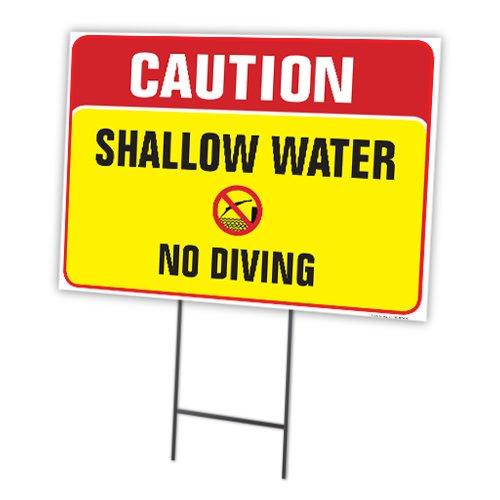 Caution Shallow Water No Diving Full Color Double Sided Sign Caution Shallow Water