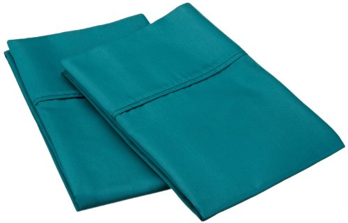 Cotton Blend 600 Thread Count , Soft, Wrinkle Resistant 2-Piece King Pillowcase Set, Solid Teal