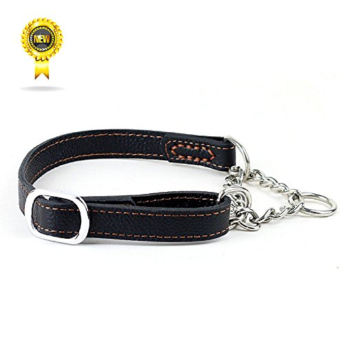 Wellbro Luxury Martingale Genuine Leather Dog Collar With Chain Half-Check, Pets Collar Adjustable for Small/Medium/Large Dogs, Black - Martingale Leather Collar