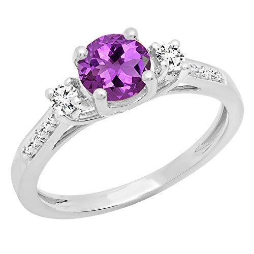(Dazzlingrock Collection 10K 6 MM Round Amethyst,White Sapphire & Diamond Bridal Engagement Ring, White Gold, Size 6)