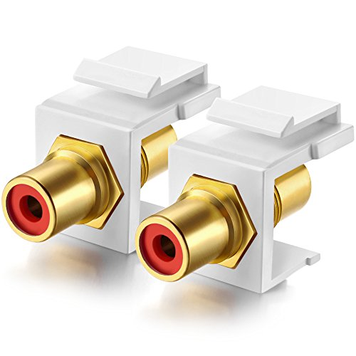 Gold-Plated RCA Keystone Jack Inserts coupler (2 Pack) (Red Center)