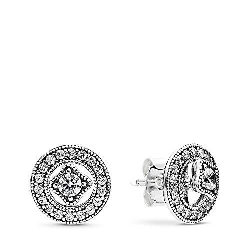PANDORA Vintage Allure Stud Earrings, Sterling Silver, Clear Cubic Zirconia, One Size (Vintage Jewelry Silver)