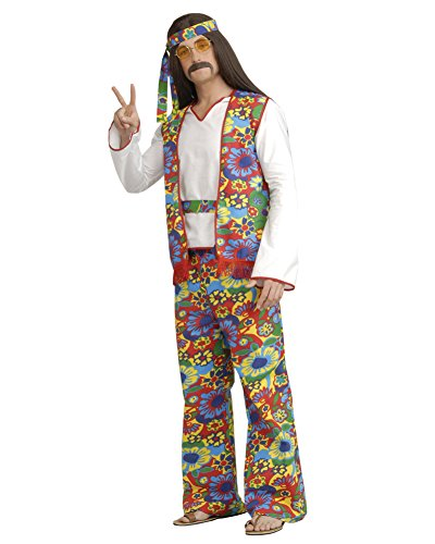 [Mens Classic Hippie Costume Theatre Costumes 60s 70s Flower Power Love Child Sizes: One Size] (Beatnik Costumes Ideas)