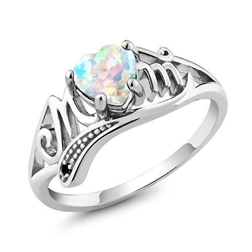 0.76 Ct Heart Shape White Simulated Opal Black Diamond 10K White Gold Mom Ring (Size 8) - Gold Opal Heart Ring