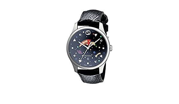 33c4cd312f9 Amazon.com  Gucci G-Timeless Black with Stars and Planet Motifs Dial Ladies  Watch YA1264045  Watches