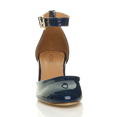 Court Ajvani Navy Shoes Patent Sandals Mid Women Heel Size Pumps fqxwpfa