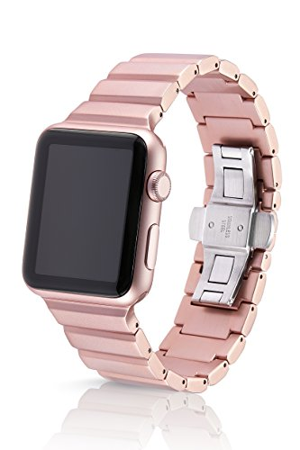 42mm JUUK Rose Gold Ligero Premium Apple Watch band, made with Swiss quality using aircraft grade, hard anodized 6061 series aluminum with a solid stainless steel butterfly deployant buckle (matte) by JUUK