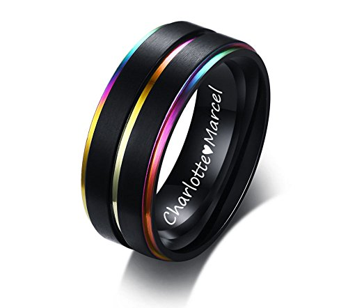 XUANPAI Free Engraving Mens Womens Stainless Steel Rainbow Rings Pride Couples Rings Band,Size 9