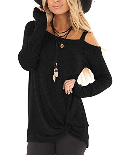 AELSON Women's Cold Shoulder Long Sleeve Shirts Front Twist Knot Casual Tunic Tops Black