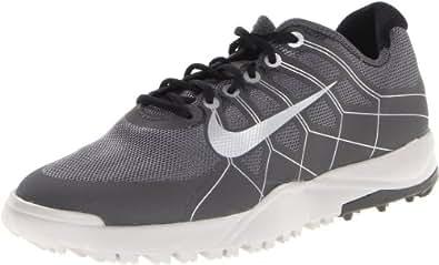NIKE Golf Range Boys' Golf Shoe, Dark Grey/Metallic Silver/Mid Fog/Black, 1 M US Little Kid