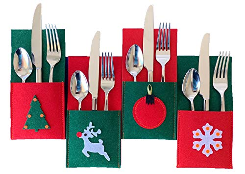 (Christmas Silverware Holders for Festive Holiday Entertaining - 8 Pack of Sturdy Felt, Many Table Decoration Ideas, Use for Place Settings, Candy, Notes from)