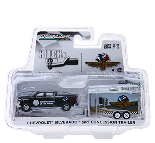 Chevrolet Silverado Pickup Truck & Concession Trailer Indianapolis Motor Speedway Hitch & Tow 1/64 Diecast Model Car by GreenLight 30034 ()