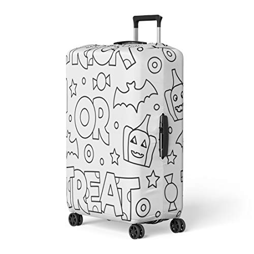 Pinbeam Luggage Cover Abstract Trick Treat Coloring Page Adorable Adult Antistress Travel Suitcase Cover Protector Baggage Case Fits 22-24 -