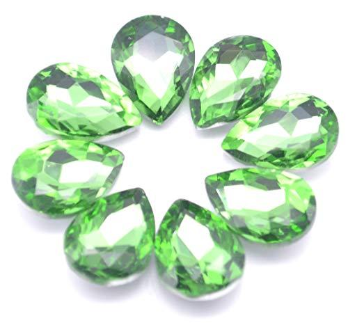 Catotrem Mixed Color Teardrop Shape Sew on Glass Crystal Diamante Rhinestone Craft 50pcs, 13x18mm(Green-50pcs)
