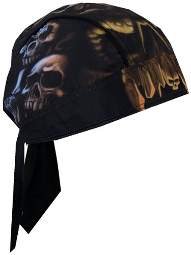 Hot Leathers Skull Cavern Head Wrap (Black) (Motorcycle Due Rags)