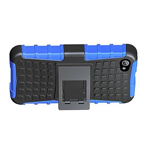 LUOLNH iPhone 4 4s Hülle (TPU Series) Silikon Stoßfest Touch 6 Schutzhülle Ständer Armor Drop Resistance Schutz Hülle für Apple iPod Touch 5G 6G (Blau)