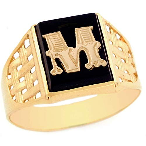 10k Yellow Gold Bold Black Onyx Mens Elegant Basket Weave Initial Letter M Ring - Size 13