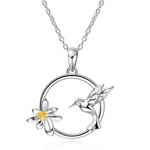 Hummingbird Pendant Sterling (WINNICACA s925 Sterling Silver Daisy and Hummingbird Pendant Necklace for Women Girls Gifts)