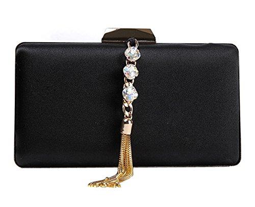 Noble mxdwyb10 Bag Evening Clutch black Satin Elegant Wallet HopeEye 1 2 Womens waistbag Wedding Golden 5w1TqRFZv