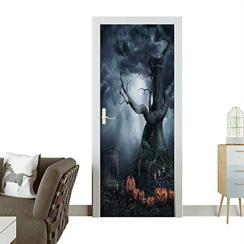 Homesonne Waterproof Decoration Door Decals Dead Tree and Halloween Pumpkins Perfect Ornament W30 x H80 INCH]()