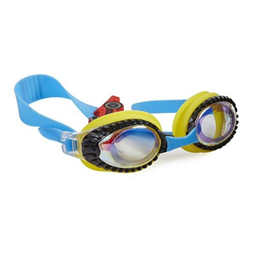 Bling 2O Kids Swimming Goggles - Yellow Race Car Swim Goggles for Boys - Anti Fog, No Leak, Non Slip, UV Protection with Hard Travel Case - 8+ ()