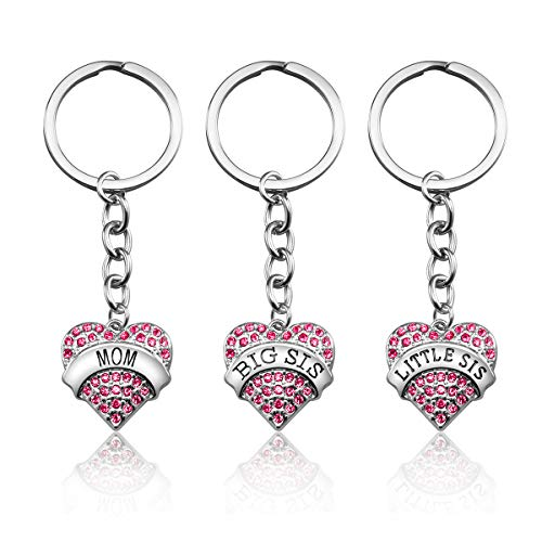 Mom Birthday Gift from Daughter - 3PCS Stainless Steel Mother Big Sis Little Sis Keychain Gifts Set for Mother