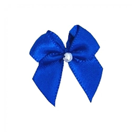 Berisford 3mm Ribbon Pearl Crossover Bows 352 Electric Blue - per pack of 6