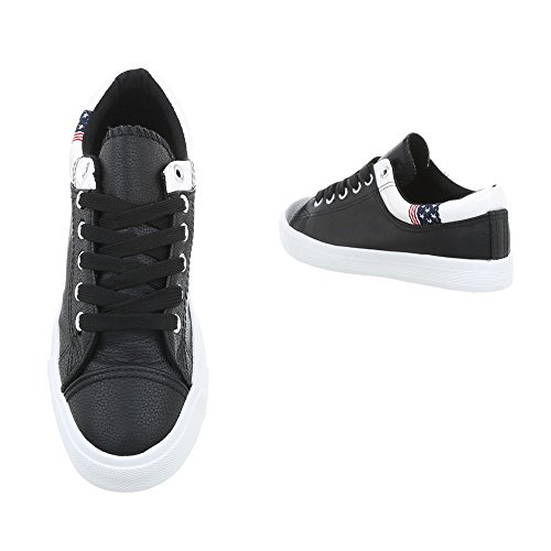 Nero Sneaker da 20 Design Low Ital Sneakers N 1 Piatto Scarpe Donna pFx8C