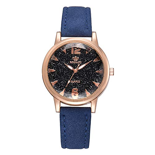 SMALLE ◕‿◕ 2019 Lady Watch,Fashion Simple Luxury Starry Background Leather Round Watch-Going Out Essentials Blue