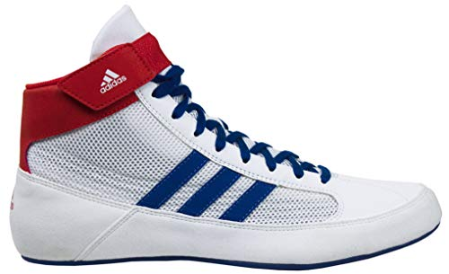 adidas HVC2 K Youth Wrestling Mat Shoe Ankle Strap (White/Royal/RED, Size 4.5)