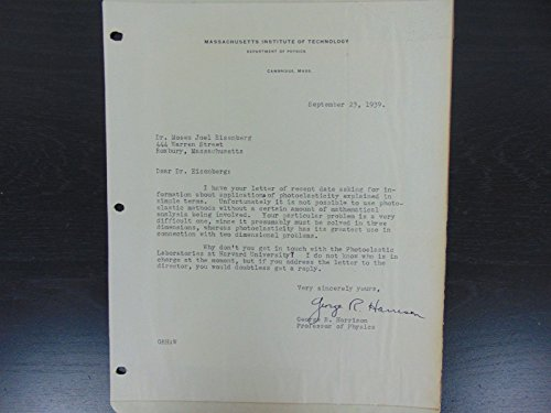 """""""Dean of Science at MIT"""" George Harrison Signmed Letter From 1939 Mueller COA from Unknown"""