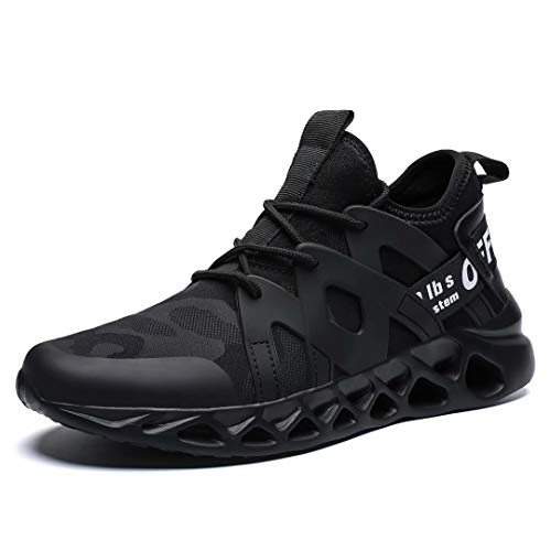 Pozvnn Men's Sneakers Mesh Ultra Lightweight Breathable Athletic Running Walking Gym Shoes Fashion Personality Shoe Outdoor Sport All/Black46 (Zapatos Men Jordan)