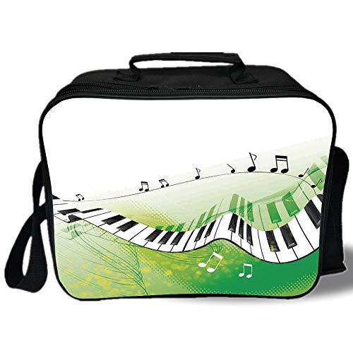 (Insulated Lunch Bag,Music Decor,Music Piano Keys Curvy Fingerboard Summertime Entertainment Flourish,for Work/School/Picnic, Grey)