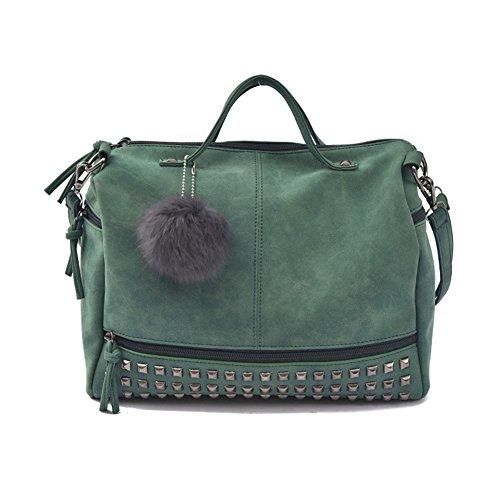 Damen Pu-Leder Handtaschen Taschen Schultertasche Umhängetasche Taschen Hellgrau Grün GVDWjg9v