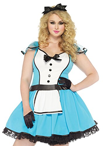 Leg Avenue Women's Plus-Size 2 Piece Storybook Alice Costume, Blue/White, (Plus Size Storybook Halloween Costumes)