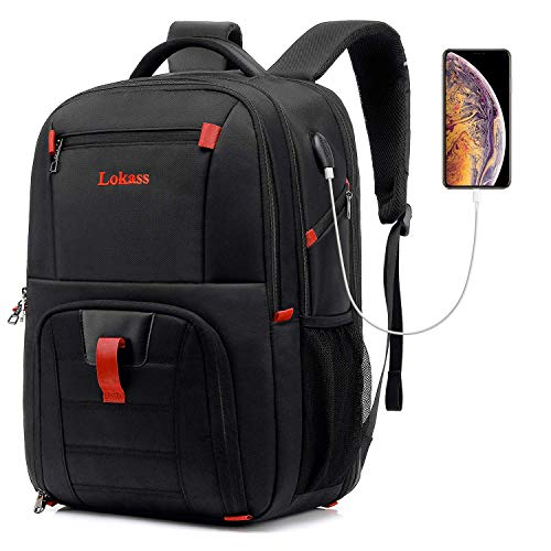 LOKASS Laptop Backpack for Men,Business Travel Stylish Durable Laptops Backpack with USB Charging Port,Water Resistant Large Computer Backpack Bag Fit 17 Inch Laptop and Notebook,Black